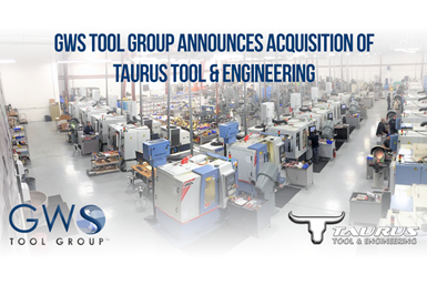 A photo with a text overlay announcing GWS Tool Group's acquisition of Taurus Tool & Engineering