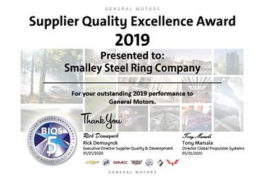A digital version of Smalley's General Motors Supplier Quality Excellence Award for 2019