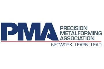 The Precision Metalforming Association's logo and tagline: Network. Learn. Lead.
