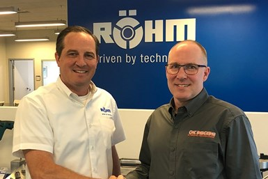A photo of Matthew Mayer, President of Röhm Products, and Erik Bergman, President of CNC Indexing & Feeding Technologies, shaking hands