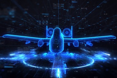 """A concept photo showing a blue """"digital"""" model of an aircraft"""