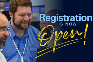 """A photo of two show attendees smiling, with the words """"registration is now open"""" typed opposite them"""