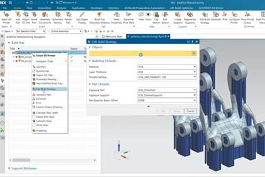 A screenshot of Siemens' NX AM software working on an EOS build file