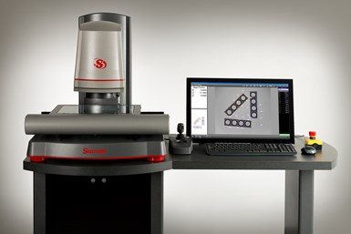 A press photo of Starrett's AVR-FOV 0.14X and accompanying MetLogix M3 software package