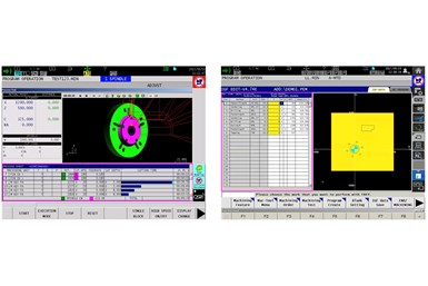 Two screenshots of Okuma's Advanced One Touch Interactive Graphics Function (AOT-IGF) software