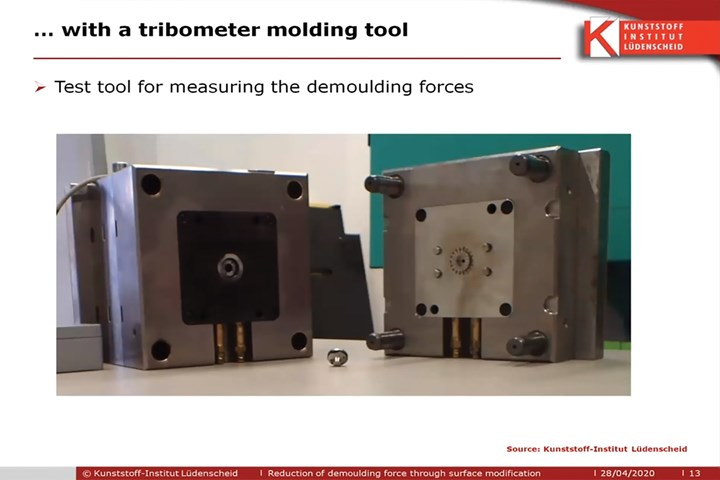 Injection mold used to characterize the effect of coatings on the ejection force.