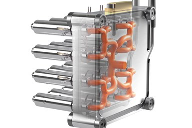 A rendering of HASCO's additively manufactured Steamrunner hot runner manifold