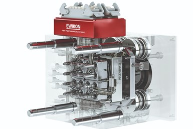 Sixteen-drop standard mold with 4 L2X-Mikro valve gate modules and standard synchronous plate.