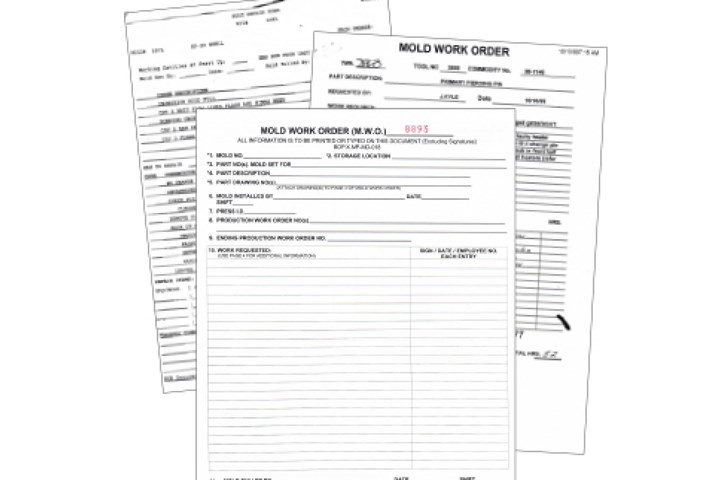 Traditional types of work order forms.