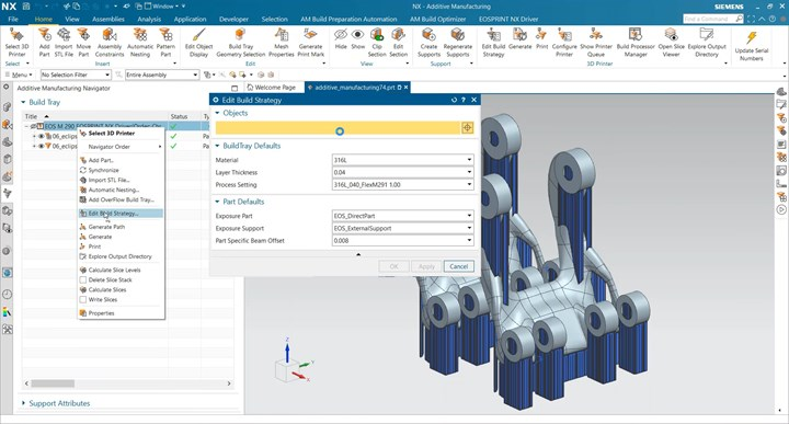 Integration of NX AM software and EOS EOSPRINT 2.