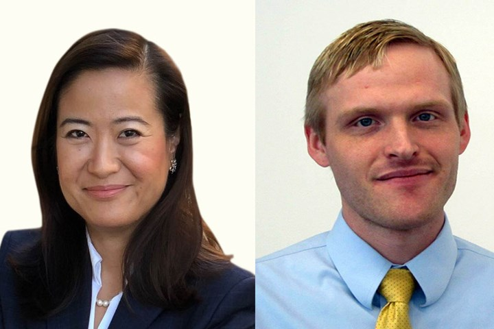 Trumpf personnel, Eliana Fu and Brett Thompson