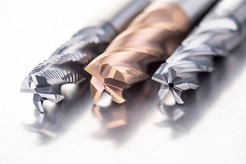 Dormer Pramet S7 assortment of solide carbide five-flute endmills.