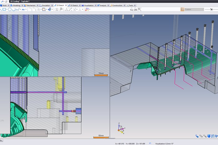 TopSolid's Parametric CAD/CAM WaterlineAutomatically Adapts Based on Pre-Existing Sketches