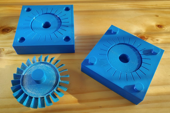 Polished 3D-printed parts.