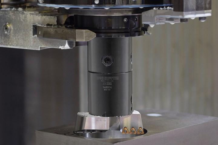 A photo showcasing Allied Machine & Engineering's new VolCut insert holder in a boring machine