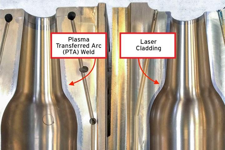 Plasma-transferred arc weld and laser cladding.