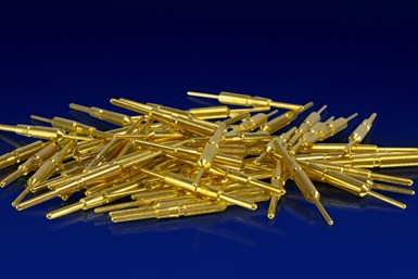 A photo of gold-plated materials from Advanced Plating Technologies