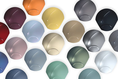 A photo showing a small portion of the variety of colors from BASF's 2020 Color Trends Report