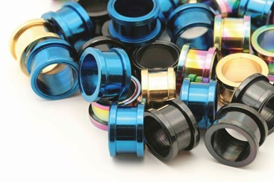 A stock image of anodized parts