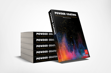 A photo showing a stack of copies of the fifth edition of Powder Coating: The Complete Finisher's Handbook