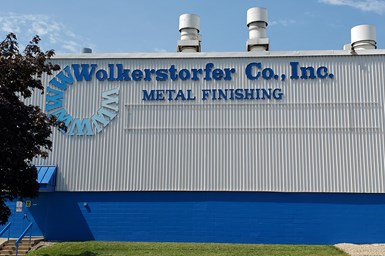 A photo of the façade of Wolkerstorfer's metal finishing plant