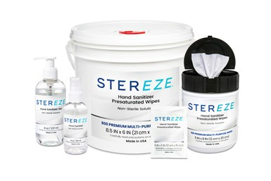 A photo showing the full lineup of MicroCare's Stereze Hand Sanitizer Products