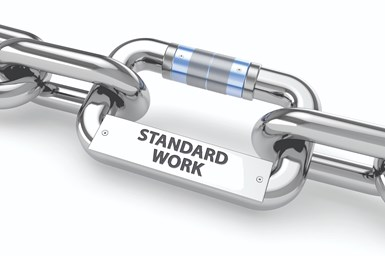 Standard work is a process of helping our performers discover and then sustain the very best practices for doing the tasks needed to deliver compliant parts on time.