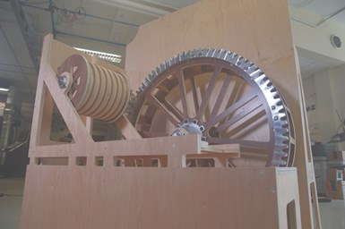 Recreated waterwheel at American Precision Museum