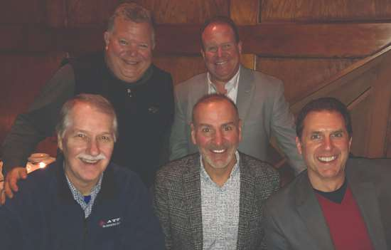 The team from American Turned Products met speaker Paul Akers.  (l to r) Top row: Harry Eighmy, Scott Eighmy. Bottom row: Jim Osmanski, Paul Akers and Drew Hoffman