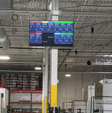 Machine monitoring screen on a shop floor