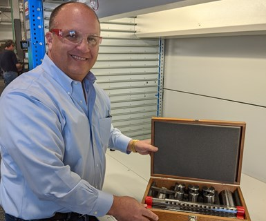 "Eric Hagopian with a keyway broach set in a traditional mahogany ""set-box"""