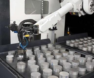 Robot automation in CNC machine shop