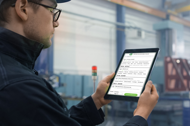 machine operator looking for repair quotes on Up! app
