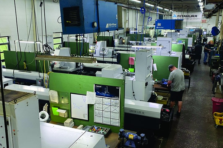 Swiss-type lathes on Slabe Machine's shop floor