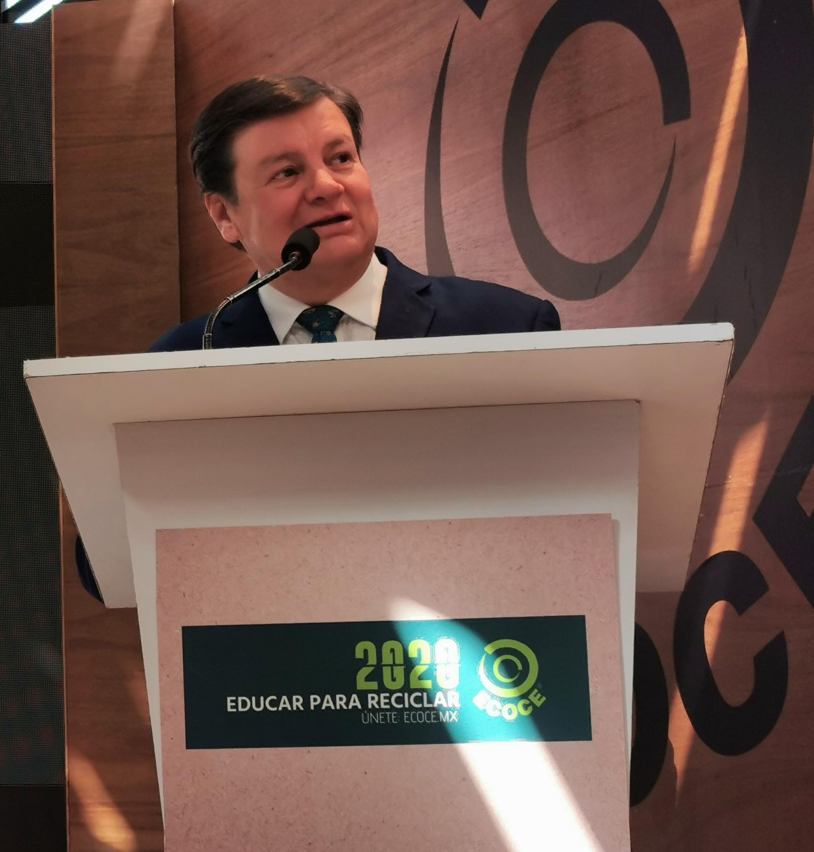Jorge Treviño, director general de ECOCE, durante la conferencia de prensa en la cual presentaron el plan de comunicaciones 2020.