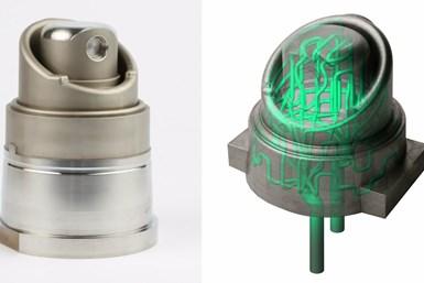 El diseño optimizado del inserto del molde presenta canales de enfriamiento complejos que se fabrican de manera aditiva, mientras que la parte inferior, geométricamente simple, se mecanizó de manera convencional. Crédito: Additive Manufacturing.