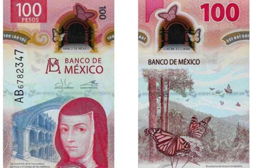 El billete de formato vertical está impreso en polímero y presenta la imagen de la poetisa y escritora Sor Juana Inés de la Cruz.