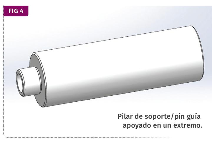 FIG 4 Pilar de soporte/pin guía apoyado en un extremo.