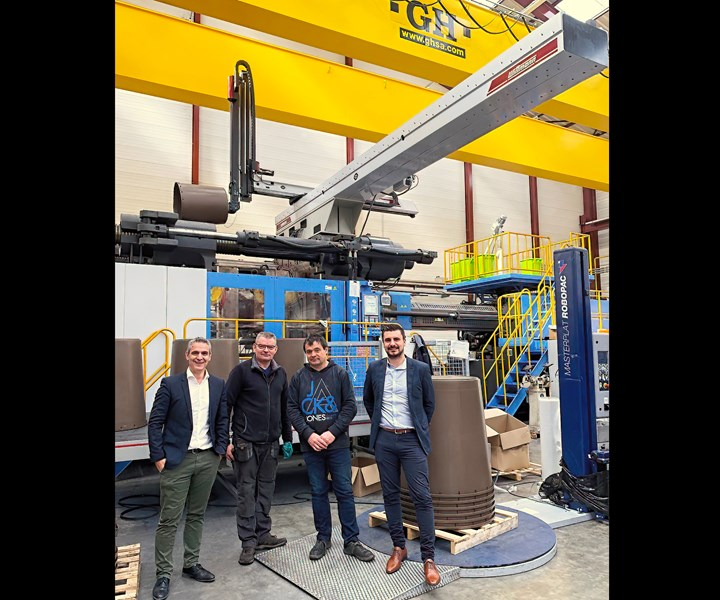 Belli in France molds large waste bins with customized Wittmann Battenfeld robot, the largest the firm has built.