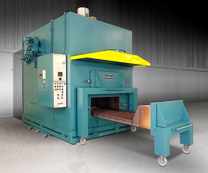 Annealing can relieve stresses in amorphous materials and increase crystallinity in semi-crystalline resins. (Photo: Annealing oven from Grieve Corp.)