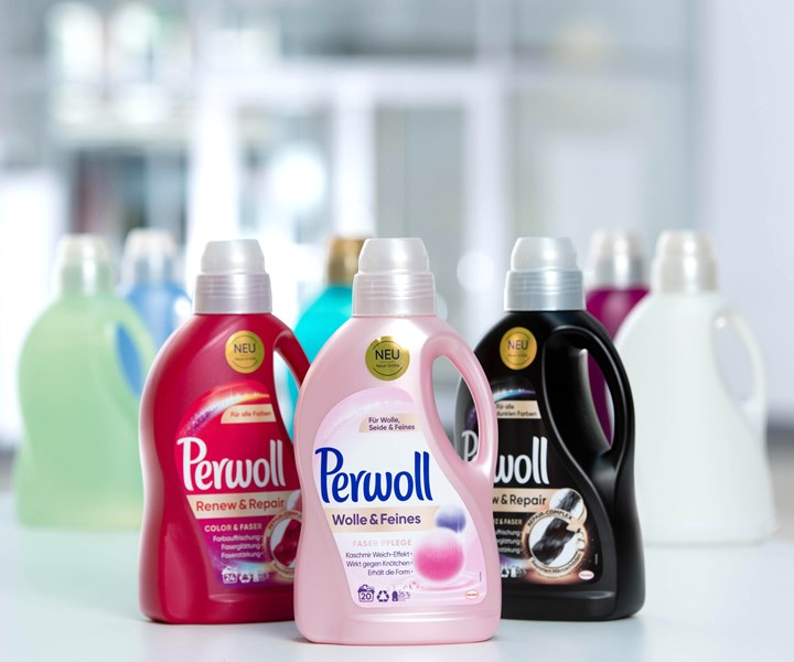 All of Henkel's Perwoll laundry-detergent bottles now contain 25% post-consumer HDPE, including the bottle at right with a recycle-friendly black colorant.