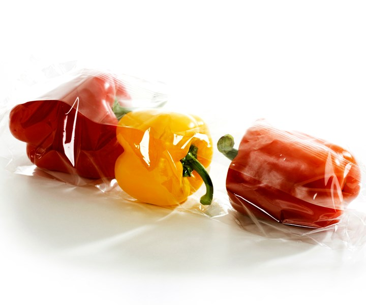 bell peppers wrapped in plastic