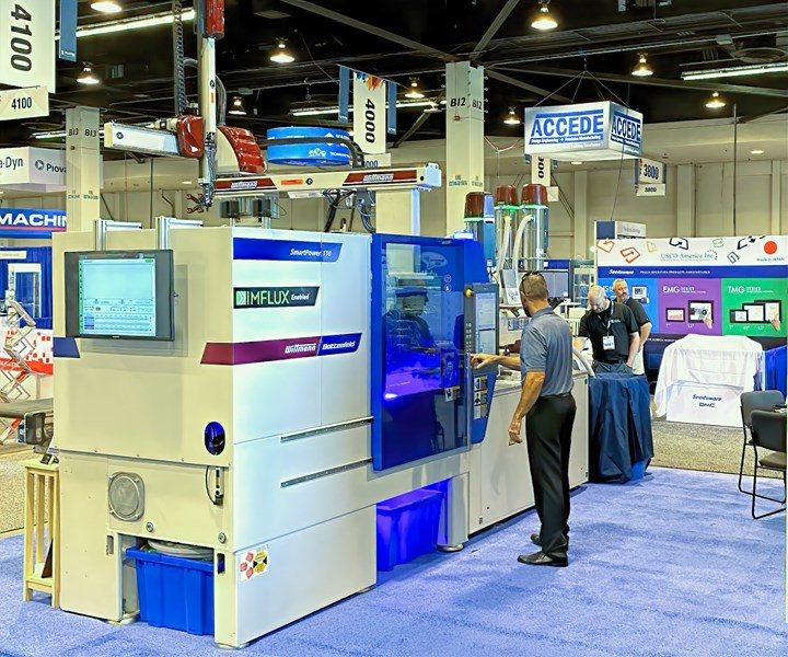 At Plastec West in February, iMFLUX and Wittmann Battenfeld demonstrated the ability of the constant-low-pressure system to correct in real time for large viscosity variations, such as occur with recycled materials.