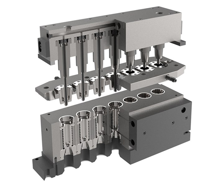 R&D/Leverage designs and builds injection-stretch-blow tooling for PET containers.