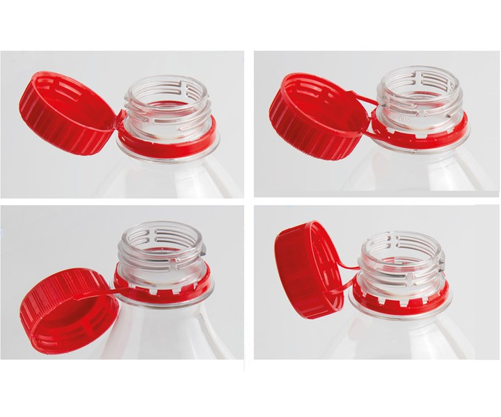 A wide variety of tethered cap designs—either compression or injection molded—can be handled by SACMI's new system.