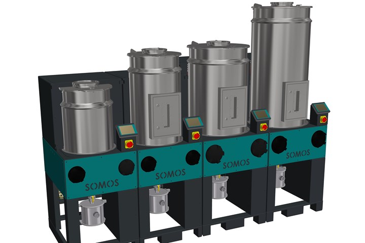 Depending on the required throughput, the modular stationary SOMOS RDF resin drying system can be made up of a number of independently operating drying module