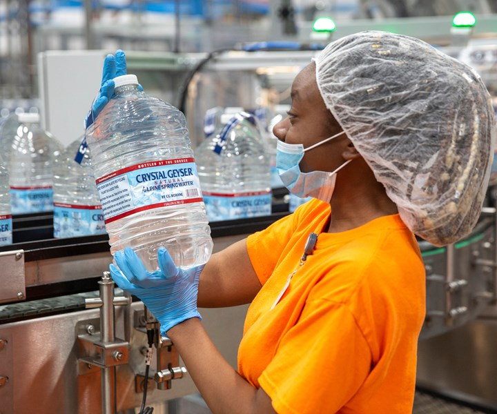 Two California bottling plants are producing Crystal Geyser spring water bottles with at least 50% rPETnow. Soon, the company plans to be using 100% rPET in all seven of its U.S. plants.