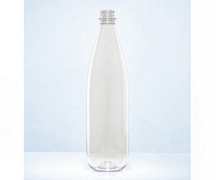 Lightweight refillable 1L PET bottle from KHS and Alpla has 35% recycle content.