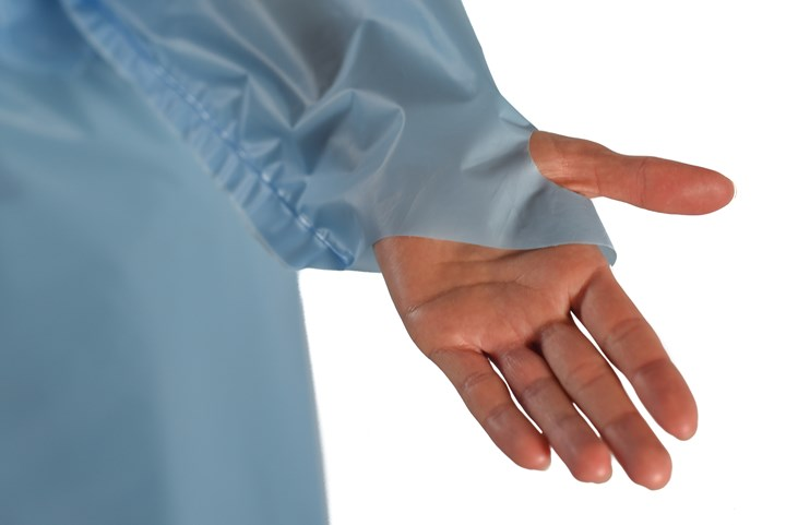Sleeve with thumb loop is one feature of ProTec's EZDoff single-use gowns