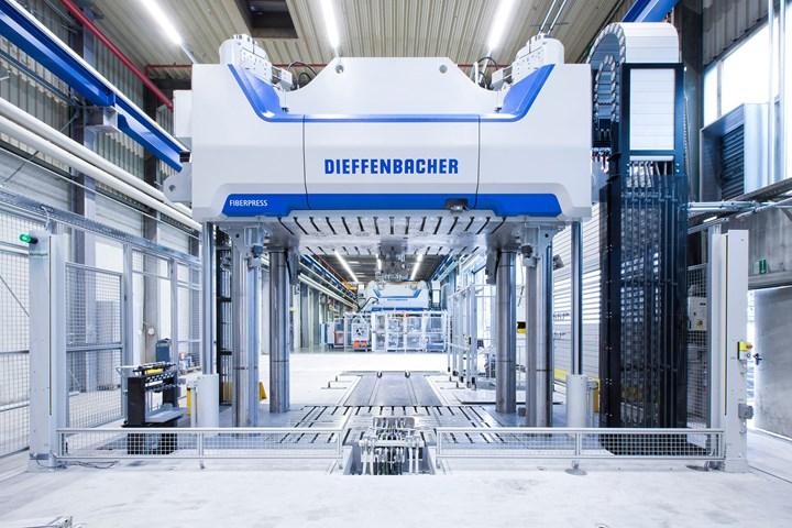Dieffenbacher single-extrusion LFT-D line includes a 2500 m.t. Fiberpress